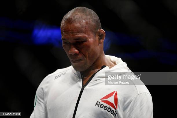 Ronaldo Souza of Brazil reacts after losing to Jack Hermansson of Sweden during their middleweight bout at UFC Fight Night at BBT Center on April 27...