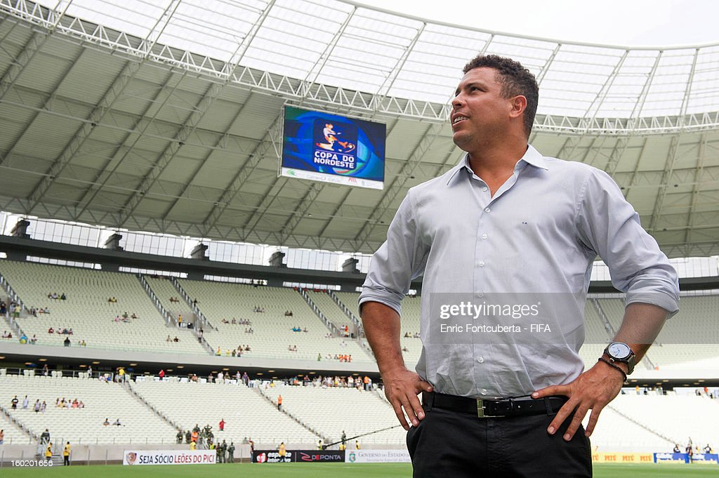 Ronaldo takes a tour of the brand new Castelao Stadium during the 2014 FIFA World Cup Host City Tour on January 27, 2013 in Fortaleza, State of Ceara, Brazil.