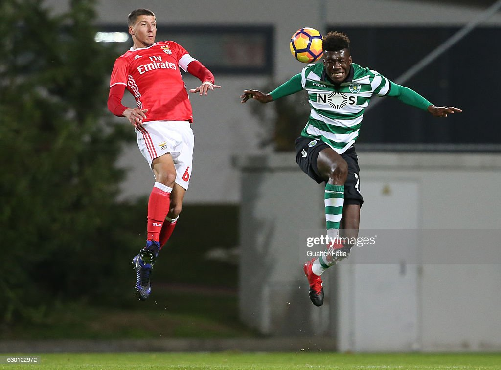 Ronaldo Tavares of Sporting CP B (R) with Ruben Dias of SL Benfica B (L) in action during the Segunda Liga match between SL Benfica B and Sporting CP B at Caixa Futebol Campus on December 16, 2016 in Seixal, Portugal.