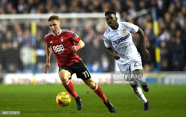 Ronaldo Vieira of Leeds United closes down Ben Osborn of Nottingham Forest during the Sky Bet Championship match between Leeds United and Nottingham...