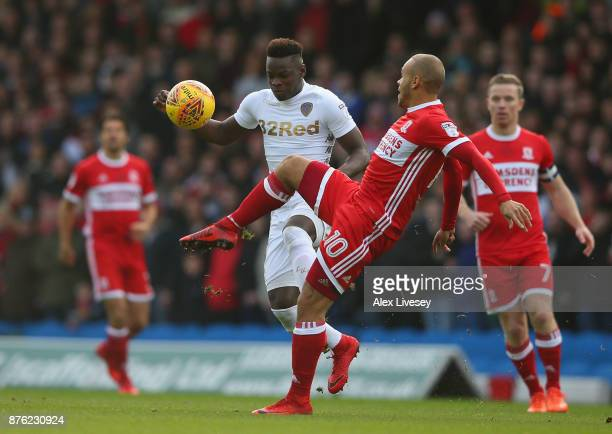 Ronaldo Viera of Leeds United is tackled by Martin Braithwaite of Middlesbrough during the Sky Bet Championship match between Leeds United and...