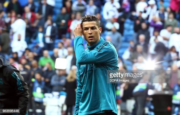Ronaldo warms up before the UEFA Champions League Semi Final Second Leg match between Real Madrid and Bayern Munchen at the Santiago Bernabeu. Final...