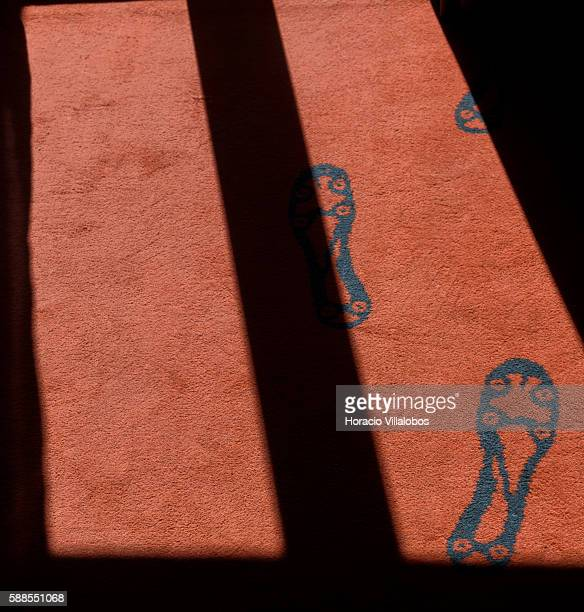 Ronaldo's footprints decorate the carpet at the bedroom of CR7 Cristiano Ronaldo Suite at Pestana CR7 Lisboa Hotel on August 11 2016 in Lisbon...