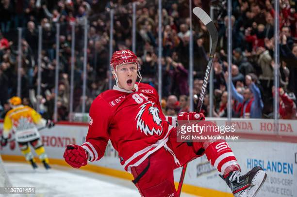 Ronalds Kenins of Lausanne HC celebrates his goal during the Swiss National League game between Lausanne HC and SC Bern at Vaudoise Arena on December...