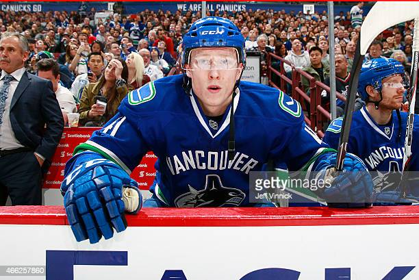 Ronalds Kenins of the Vancouver Canucks prepares to take to the ice during their NHL game against the Toronto Maple Leafs at Rogers Arena March 14,...