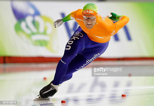 Ronals Mulder of the Netherlands skates to a third place finish in the men's 500 meter race during the ISU World Cup Speed Skating event November 10...
