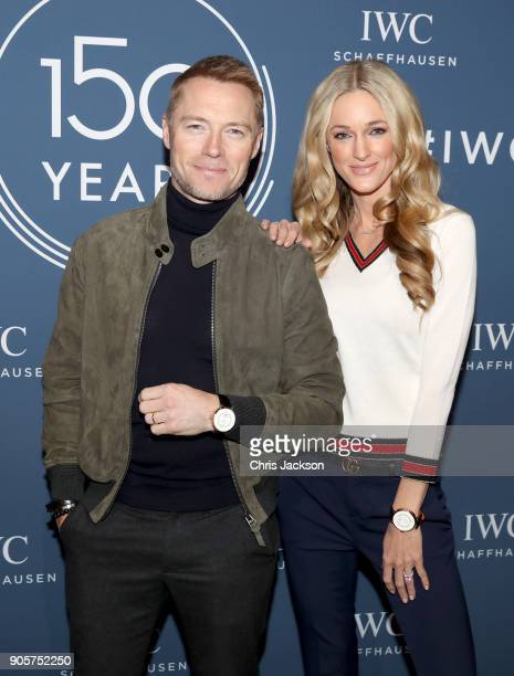 Ronan and Storm Keating visit the IWC booth during the Maison's launch of its Jubilee Collection at the Salon International de la Haute Horlogerie on...