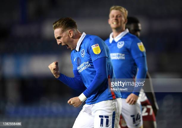 Ronan Curtis of Portsmouth celebrates after he scores his sides third goal during the Sky Bet League One match between Portsmouth and Northampton...