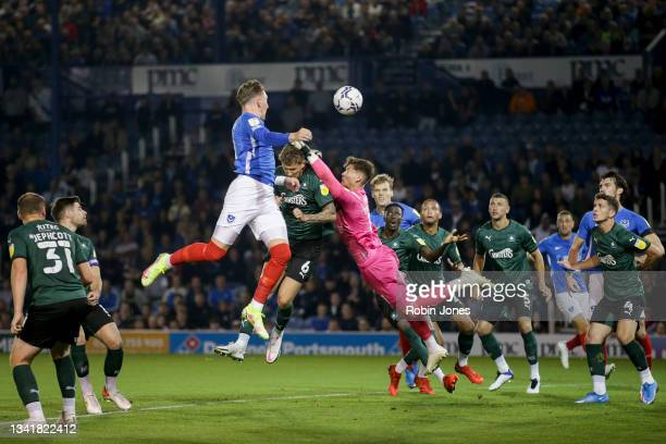 Ronan Curtis of Portsmouth FC heads wide during the Sky Bet League One match between Portsmouth and Plymouth Argyle at Fratton Park on September 21,...
