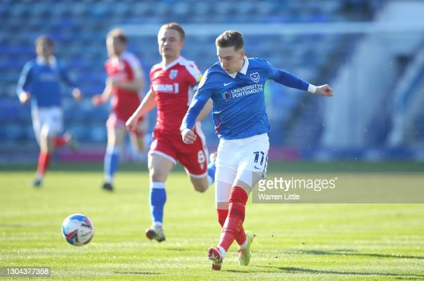 Ronan Curtis of Portsmouth FC passes the ball during the Sky Bet League One match between Portsmouth and Gillingham at Fratton Park on February 27,...