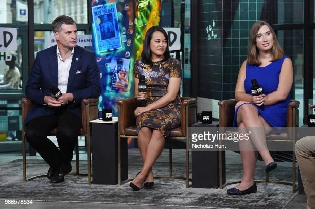 Ronan Dunne Michelle Tan and Sarah McBride visit Build at Build Studio on June 6 2018 in New York City