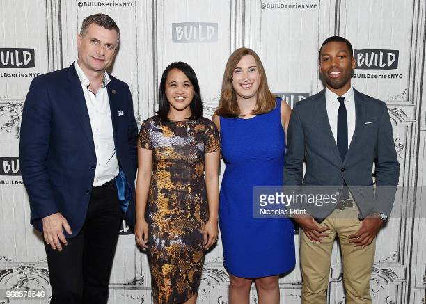 Ronan Dunne Michelle Tan Sarah McBride and Xavier Harding visit Build at Build Studio on June 6 2018 in New York City