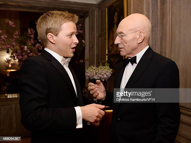 Ronan Farrow and Patrick Stewart attend the Bloomberg Vanity Fair cocktail reception following the 2014 WHCA Dinner at Villa Firenze on May 3 2014 in...