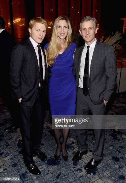 Ronan Farrow Ann Coulter and Dan Abrams attend The Hollywood Reporter's Most Powerful People In Media 2018 at The Pool on April 12 2018 in New York...