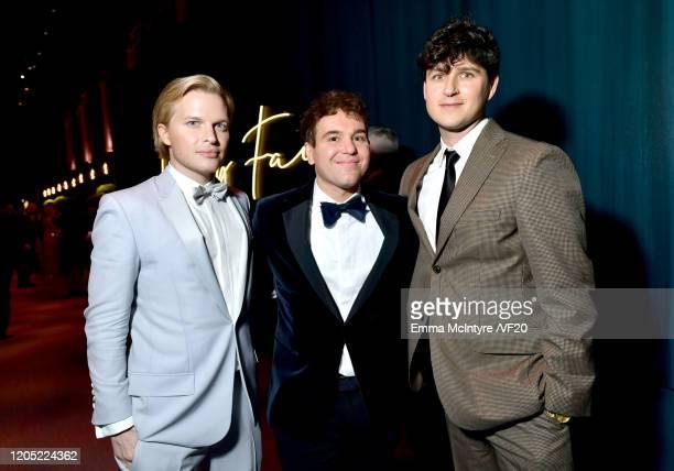 Ronan Farrow, Jon Lovett, and Ezra Koenig of Vampire Weekend attend the 2020 Vanity Fair Oscar Party hosted by Radhika Jones at Wallis Annenberg...