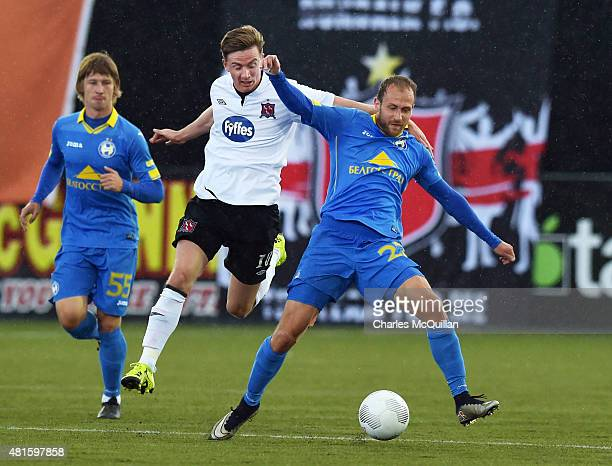 Ronan Finn of Dundalk and Ihar Stasevich of BATE Borisov during the Champions League 2nd round qualifying game at Oriel Park on July 22 2015 in...
