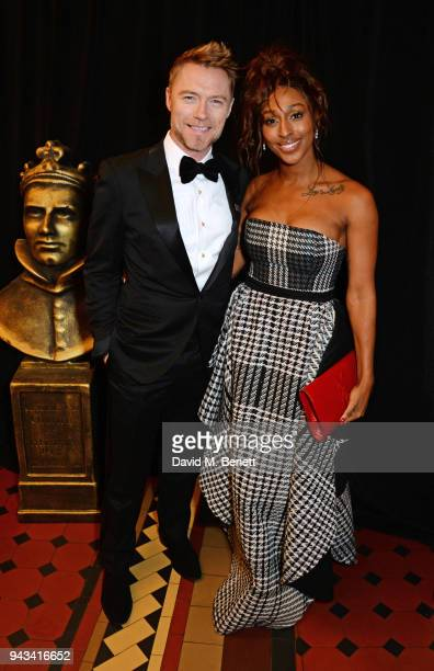 Ronan Keating and Alexandra Burke attend The Olivier Awards with Mastercard at Royal Albert Hall on April 8 2018 in London England