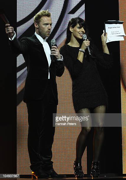 Ronan Keating and Brooke Fraser present the Album of the Year award during the 2010 Vodafone Music Awards at Vector Arena on October 7 2010 in...