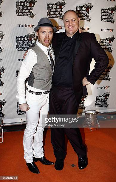 Ronan Keating and Dara O'Briain pose on the red carpet for the Meteor Ireland Music Awards on Februar 15 2008 in Dublin Ireland