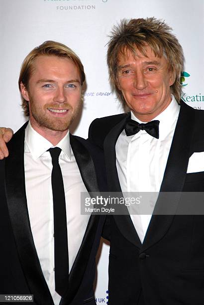 Ronan Keating and Rod Stewart attend The Emeralds Ivy Ball hosted by Ronan Keating for Cancer Research UK sponsored by Anglo Irish Bank at The Old...