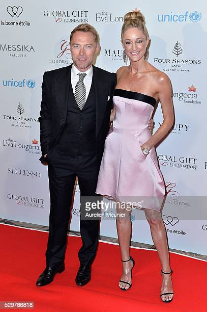 Ronan Keating and Storm Keating attend the Global Gift Gala photocall at Four Seasons Hotel George V on May 9, 2016 in Paris, France.