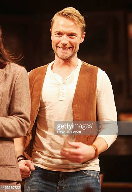 Ronan Keating bows at the curtain call during the press night performance of 'Once' as Ronan Keating joins the cast at The Phoenix Theatre on...