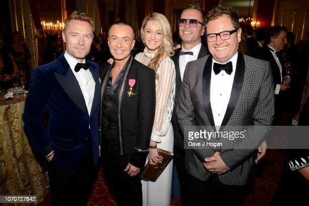 Ronan Keating Julien Macdonald Storm Keating Paul Drayton and Alan Carr attend the Julien Macdonald Fashion Show for National Osteoporosis Society at...