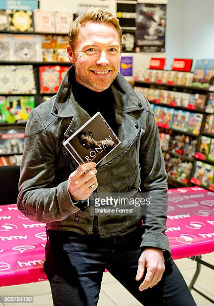 Ronan Keating meets fans and signs copies of his new album 'Time Of My Life' at HMV Manchester on February 12 2016 in Manchester England