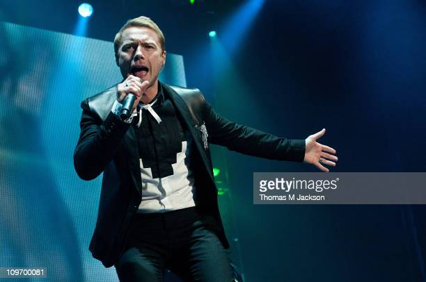 Ronan Keating of Boyzone performs on stage at Metro Radio Arena on March 1 2011 in Newcastle upon Tyne England
