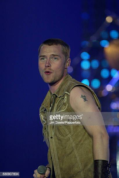 Ronan Keating performing on stage at Wembley Arena in London on the 13th April, 2003.
