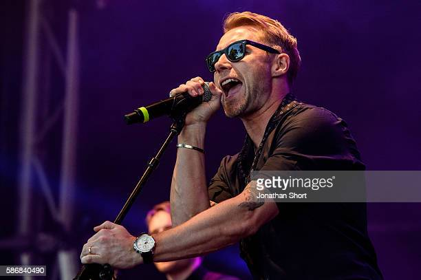 Ronan Keating performs at the Dubai Duty Free Shergar Cup at Ascot Racecourse on August 6 2016 in Ascot England