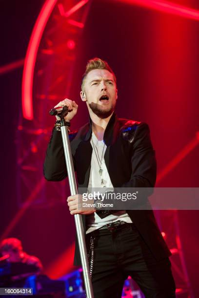 Ronan Keating performs on stage at LG Arena on January 25, 2013 in Birmingham, England.