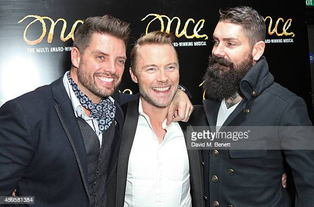 Ronan Keating poses with Boyzone members Keith Duffy and Shane Lynch attend an after party following the press night performance of Once as Ronan...