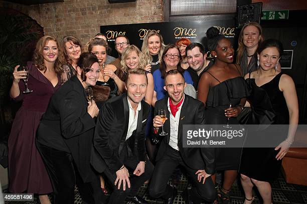 Ronan Keating poses with cast and crew of 'Once' at an after party following the press night performance of 'Once' as Ronan Keating joins the cast at...