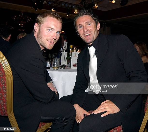 Ronan Keating Robbie Keane during Miss Ireland Finals 2004 in City West at City West Hotel in Dublin Ireland