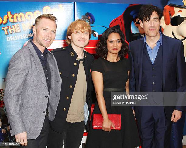 Ronan Keating Rupert Grint Parminder Nagra and Stephen Mangan attend the World Premiere of 'Postman Pat' at Odeon West End on May 11 2014 in London...