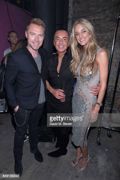 Ronan Keating Storm Keating pose with Designer Julien Macdonald backstage at the Julien Macdonald Spring Summer 2018 Show sponsored by Ciroc at The...