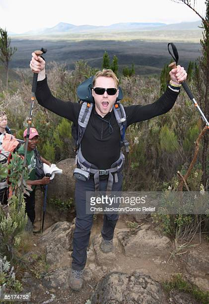 Ronan Keating treks up Kilimanjaro on the second day of The BT Red Nose Climb of Kilimanjaro on March 1 2009 in Arusha Tanzania Celebrities Ronan...
