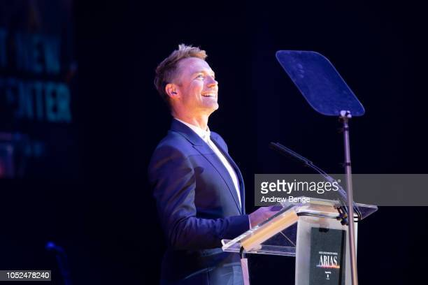 Ronan Keating wins Best New Presenter Award at the Audio and Radio Industry Awards at First Direct Arena Leeds on October 18 2018 in Leeds England