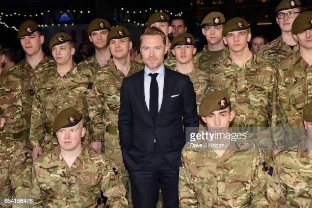 Ronan Keating with the Members of the Grenadier Guards and Scots Guards in support of the Armed Forces Fund attend the World Premiere of 'Another...