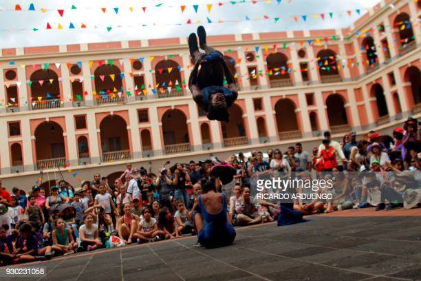 Ronan Lima and Marina Collares of Brasil from the Dela Praka company performs during the fifth annual Puerto Rico Circo Fest in San Juan Puerto Rico...