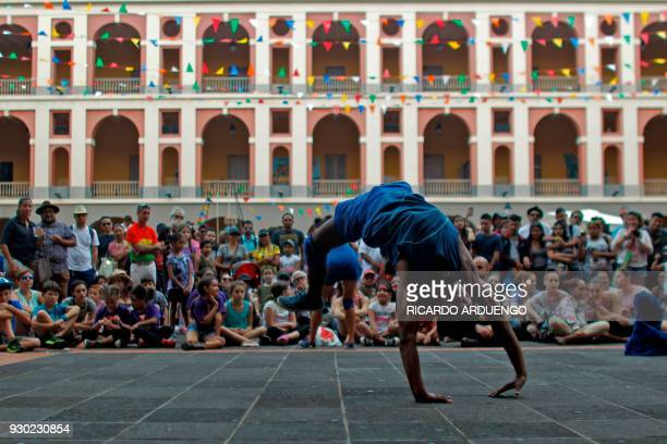 Ronan Lima of Brasil from the Dela Praka company performs during the fifth annual Puerto Rico Circo Fest in San Juan Puerto Rico Saturday March 10...