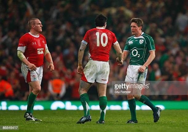Ronan O'Gara of Ireland shakes hands with Stephen Jones of Wales after the RBS 6 Nations Championship match between Wales and Ireland at the...