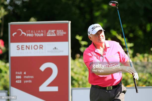 Ronan Rafferty of Northern Ireland in action during the first round of the 2018 Senior Italian Open presented by Villaverde Resort played at Golf...