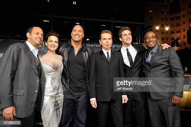 "Ronbert Teitel, Oliver Jackson-Cohen, Carla Gugino, Dwayne Johnson, Billy Bob Thornton and George Tillman Jr attend the ""Faster"" premiere at..."