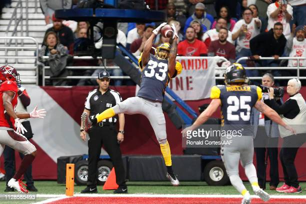 Ron Brooks of the San Diego Fleet intercepts a pass during the third quarter against the the San Antonio Commanders in an Alliance of American...