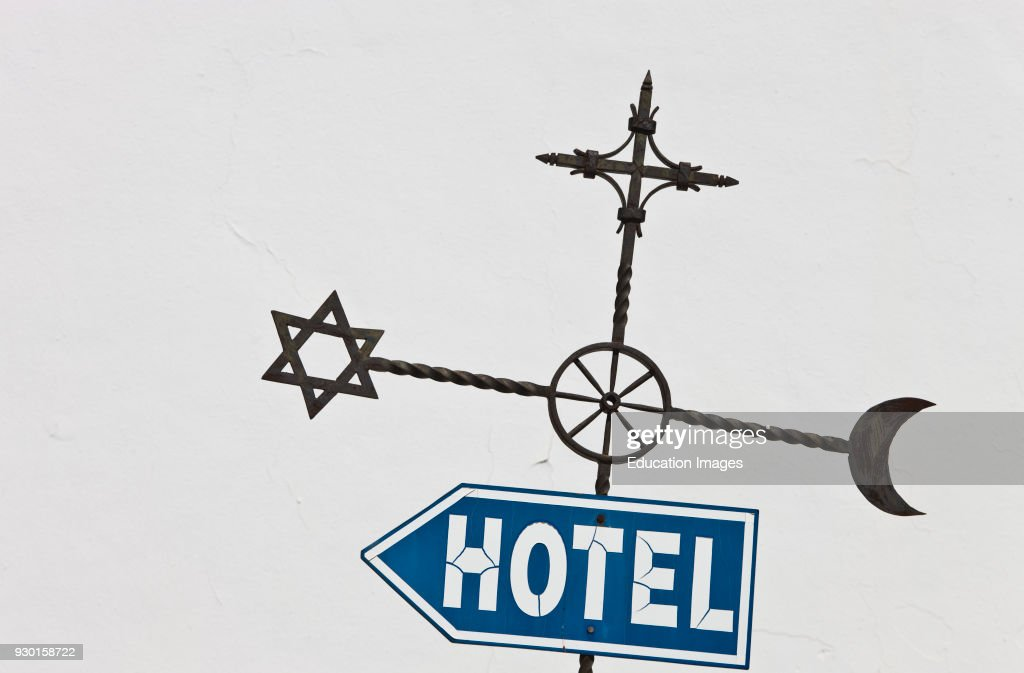 Ronda Malaga Province Spain Hotel Sign With Islamic Jewish And