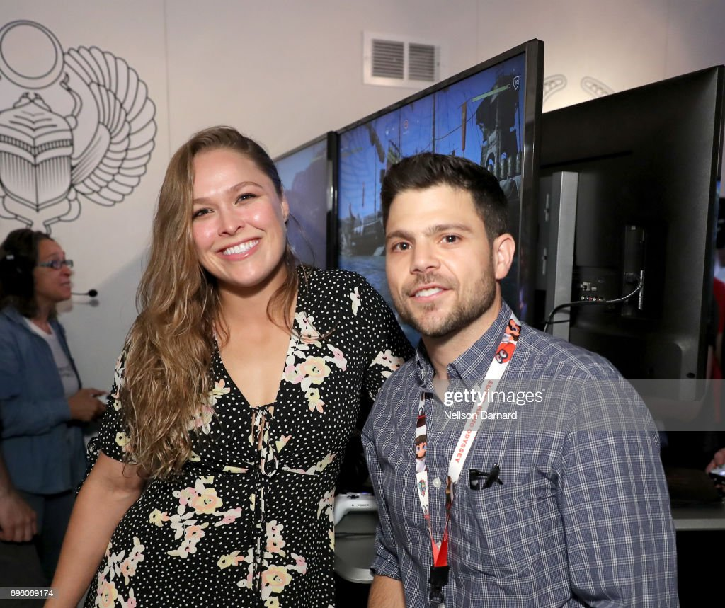 Ronda Rousey (L) and actor Jerry Ferrara attend E3 2017 at Los Angeles Convention Center on June 14, 2017 in Los Angeles, California.