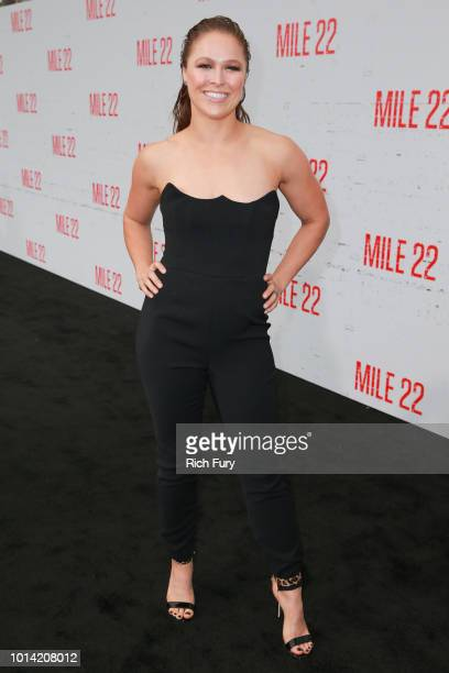 "Ronda Rousey attends the premiere of STX Films' ""Mile 22"" at Westwood Village Theatre on August 9, 2018 in Westwood, California."
