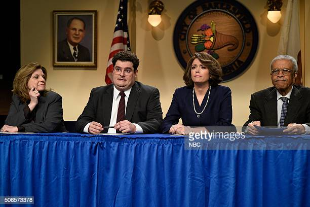 LIVE Ronda Rousey Episode 1694 Pictured Bobby Moynihan and Cecily Strong during the City Council sketch on January 23 2016